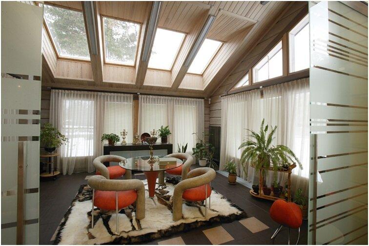 Дизайн интерьера деревянного дома из