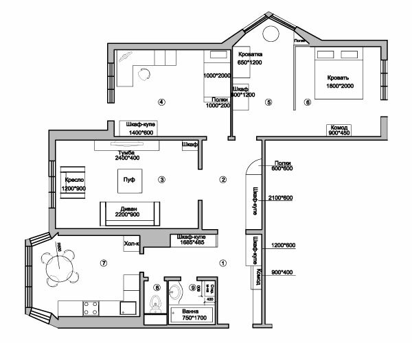 3-комнатной квартиры в
