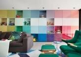 Интерьер гостиной комнаты в стиле поп-арт