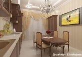 Кухня  в классическом стиле в 3-комнатной квартире