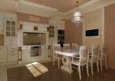 Кухня-столовая в квартире в классическом стиле