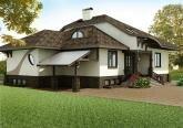 Фасад загородного дома в стиле Модерн
